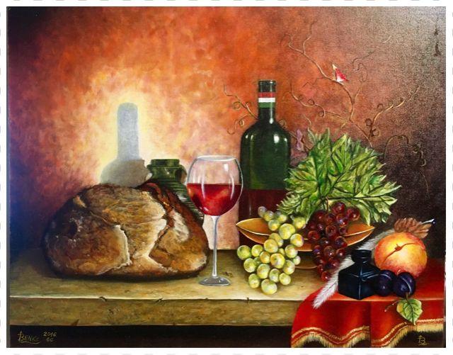 """66. Elkészült a 66. képem. Mérete 40 * 50 cm, Farost lemezen vászonra készült. Címe: Magyar csendélet  Finished with 66. my picture. Size 40 * 50 cm, wood disk. Title: """"Hungarian Still Life""""  #benkelaszlo #festmeny #art #festészet #olaj #olajfestmény #benkelaszlo #painting #oilpaint #oilpainting #art #l4l #artist #oldmaster #artdaily #artlover #dailyart #paint #artofinstagram #artwork #paintings #artgallery #artlife #benkedesign #artstagram # Hungarian #Still Life"""
