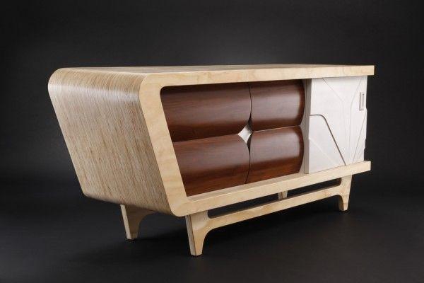Torino Retro Wooden Sideboard Credenza White Vintage Sideboard Retro Credenza home office furniture