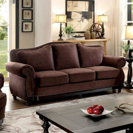 Hetty Transitional Sofa With Nailhead Trim, Brown