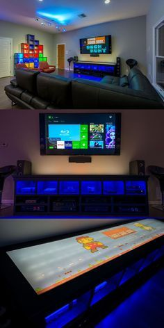 Family Game Room TV Media Center. 6 Generations of Gaming Consoles, 80 inch TV, LED backlit Vinyl Super Mario Graphics.