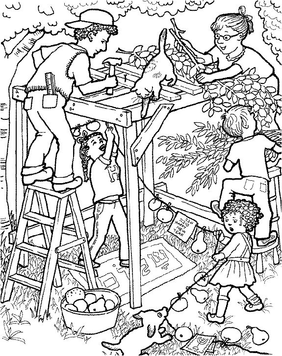 Building the Sukkah for Sukkot. Jewish Holiday coloring page