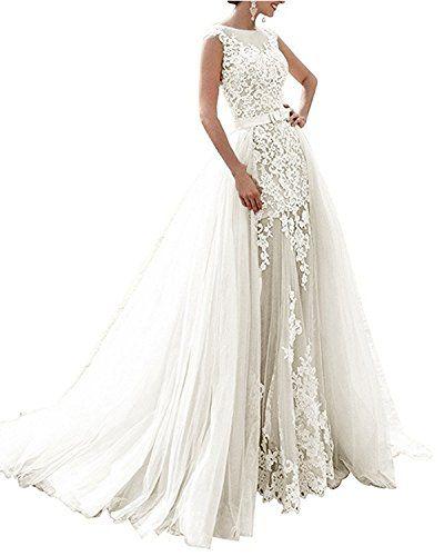 ab8a9fc9d5bb Angel Formal Dresses #Women Appliques Beading Lace Mermaid Detachable #Wedding  Dress For #Bride