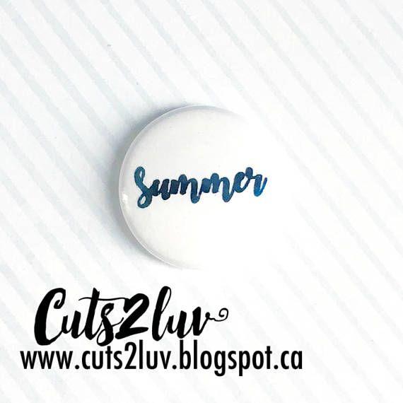 """Badge 1"""" Summer métallique bleu"""