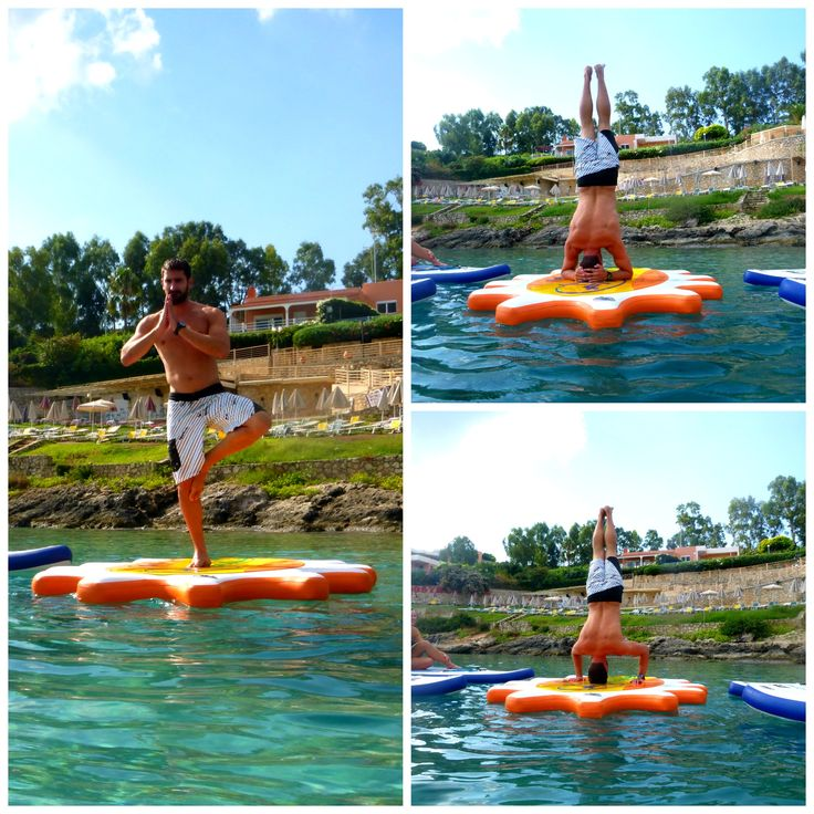 Our SUP instructor Dimitris Bouzas showing off his SUP yoga skills. Join the fun! http://paddleboardyoga.net/