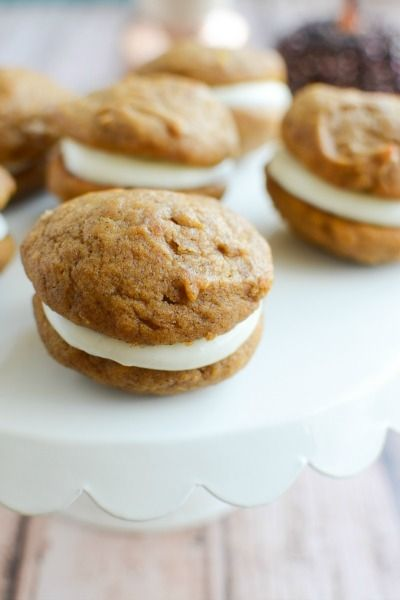 Pumpkin Whoopie Pies with Marshmallow Cream Cheese Filling -  fakeginger