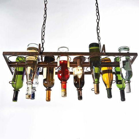 Deckenleuchte Bottle, für 14 Flaschen, Metall, ca. B80,5xT30,5xH121 cm bei Gingar