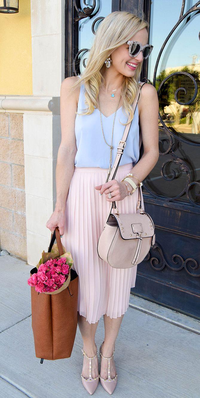 blush pink pleated skirt + pastel blue tank.