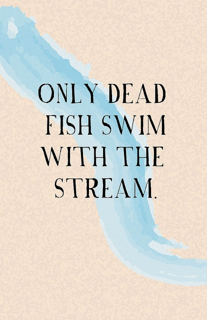"""Only dead fish swim with the stream."""