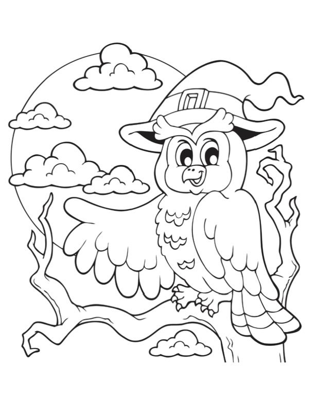 Free Halloween Preschool Activities To Do At Home Color This Owl And The Full Moon For Some Hal Owl Coloring Pages Halloween Coloring Pages Halloween Coloring