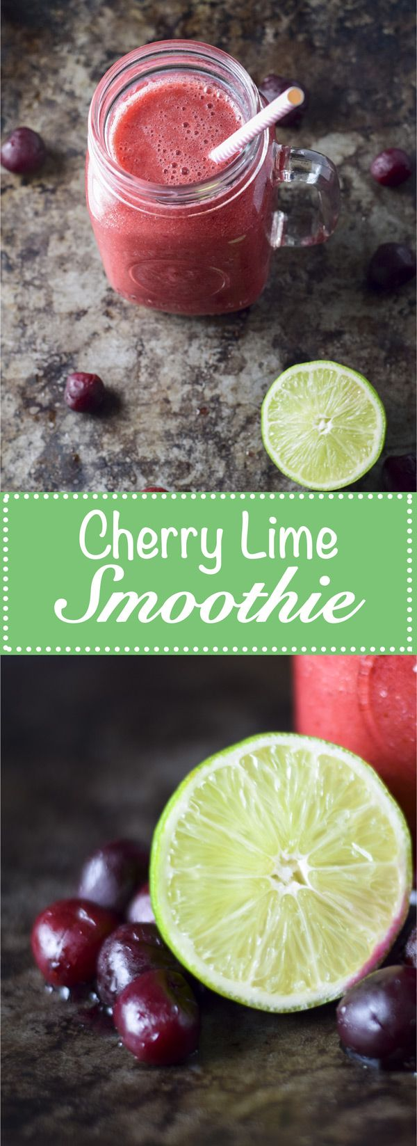 Cherry Lime Smoothie Recipe - This delectable and tart vegan smoothie has no dairy, no sugar, and uses only water and fresh squeezed limes as its base