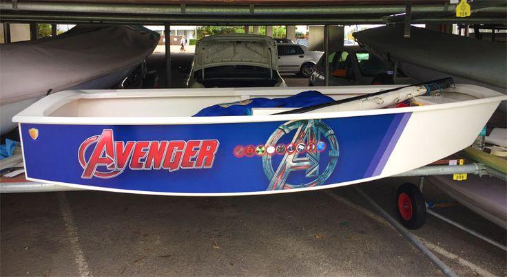 """Opti Sailing Dinghy Wraps - Superhero theme """"Avenger"""""""