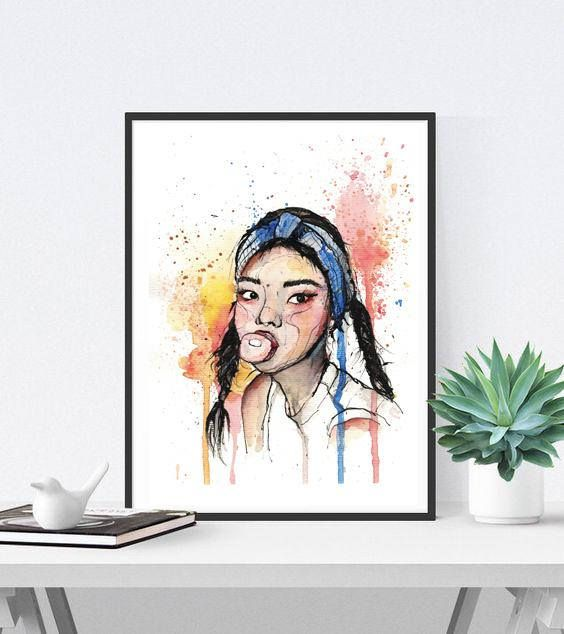 Asian girl portrait PRINT after the original drawing