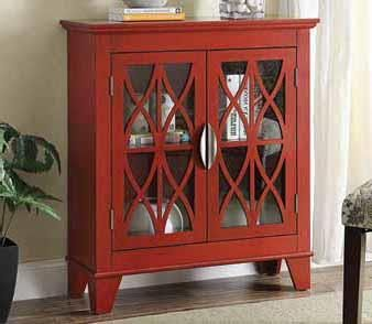 "Red finish wood small size transitional style hall console storage cabinet with glass front doors.  Measures 32"" x 12"" x 36"" H.  Some assembly required."