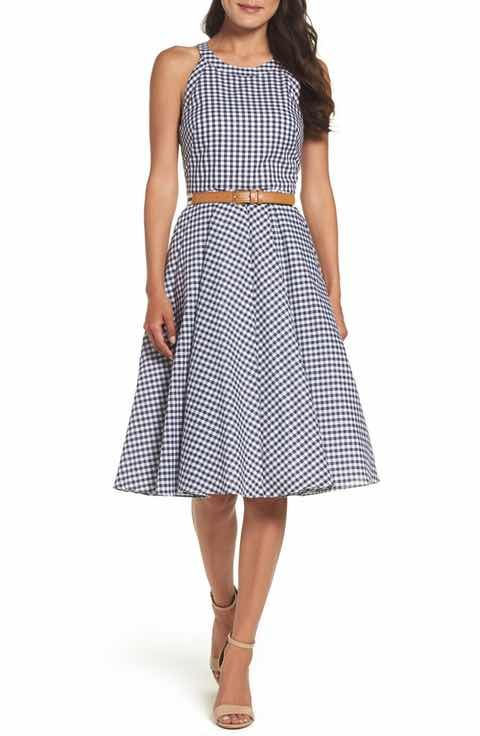Eliza J Belted Fit & Flare Dress