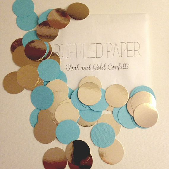 Party Confetti Teal with Gold Metallic 1 inch (100 pieces)