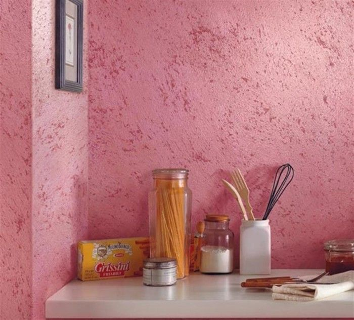"""Штукатурка короед: технология нанесения и 60+ стильных вариантов применения для интерьера и экстерьера http://happymodern.ru/shtukaturka-koroed-foto/ Яркий декоративный """"короед"""" на стенах в кухне Смотри больше http://happymodern.ru/shtukaturka-koroed-foto/"""