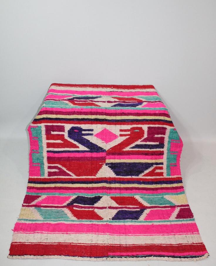 60s Mexican Rug Blanket Wool Ducks Pictoral Brightly