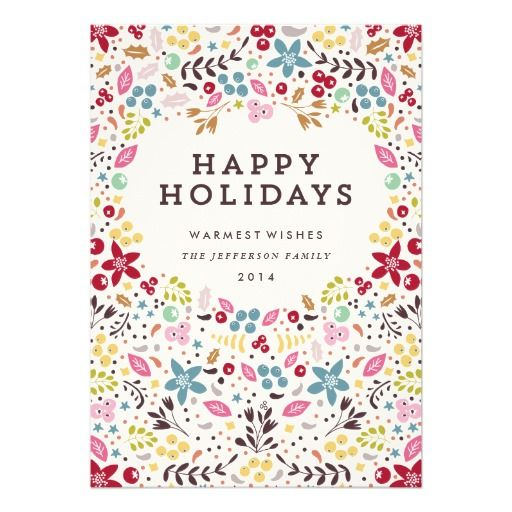 Zazzle Holiday Greeting Cards. Colorful Happy Holidays Floral Invitation