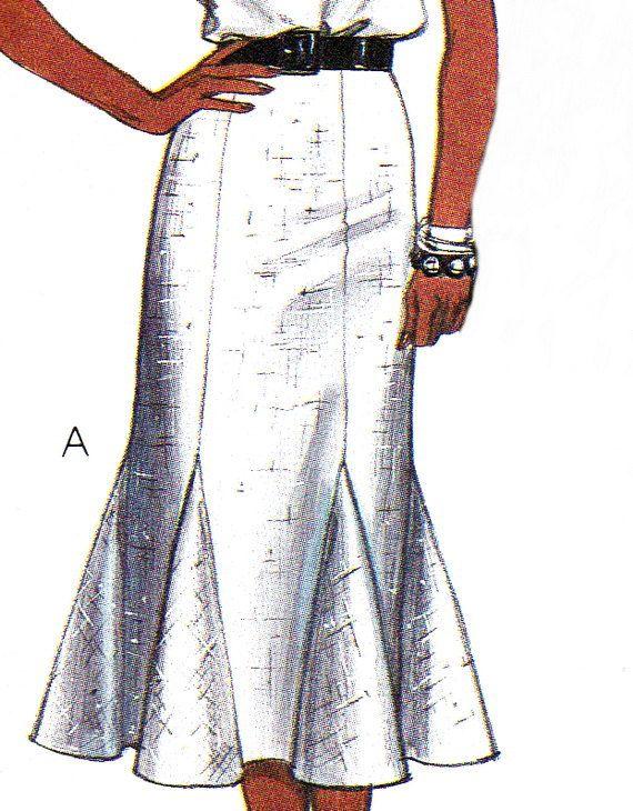 1980s Skirt Pattern McCalls 9451 Mermaid Skirt by paneenjerez, $8.00