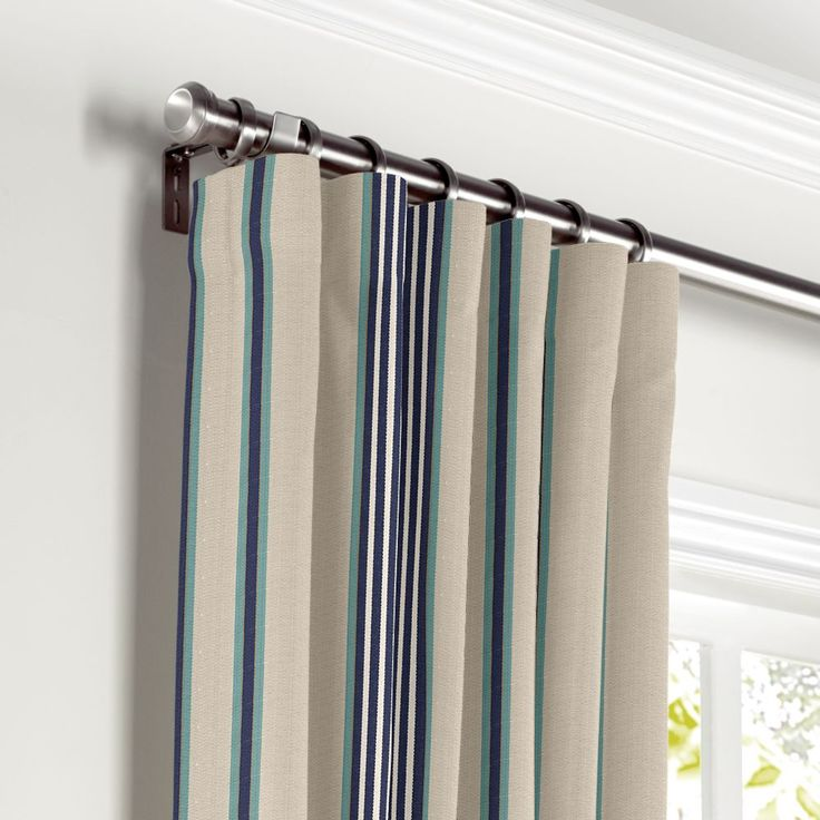 Gray,-Teal-Blue-Stripe-Curtain,-Ring-Top-Front