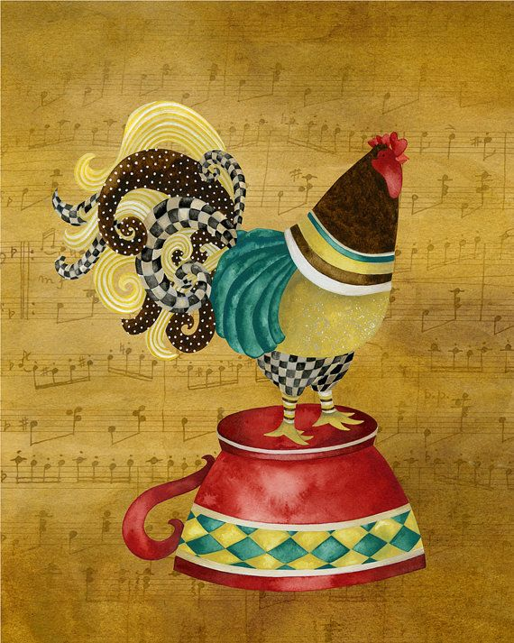 Art Print 8x10. Musical Rooster Pour Me Some by studiopetite, $18.00