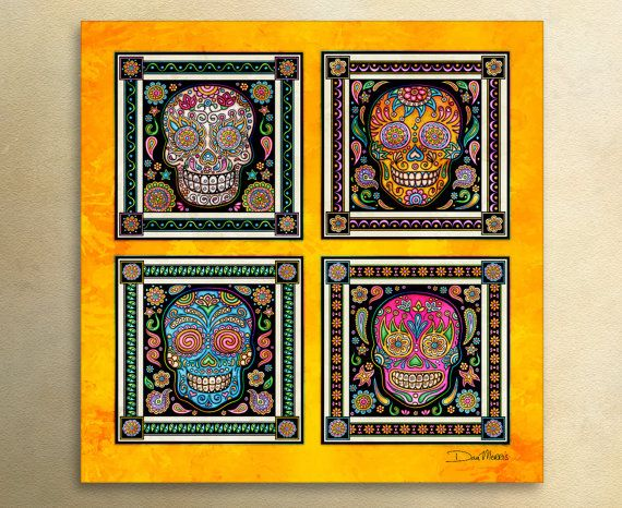 "Sugar Skulls Art by Artist Dan Morris titled ""Dia de los Muertos"". Day of the Dead, All Saints Day, Sugar Skull decor,skull decor"
