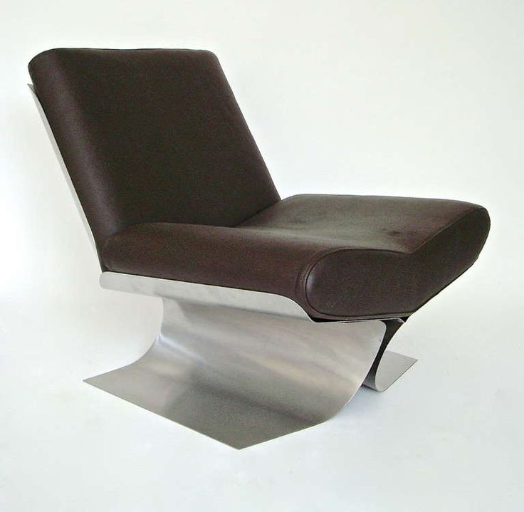 Xavier Feal; Stainless Steel And Leather Lounge Chair, C1970.