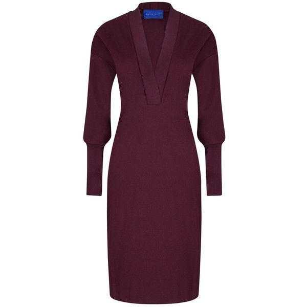 Winser London Deep V Neck Dress ($51) ❤ liked on Polyvore featuring dresses, rich berry, long-sleeve midi dresses, long sleeve dress, long-sleeve maxi dresses, purple maxi dresses and long-sleeve shift dresses