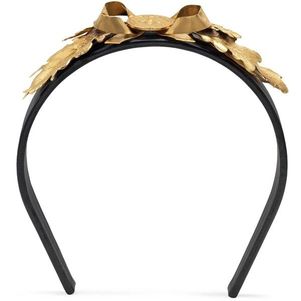 Gucci Metal Leaves Leather Hairband (€1.270) ❤ liked on Polyvore featuring jewelry, accessories, runway accessories, women, gucci jewellery, leather jewelry, chain jewelry, coin jewelry and leaves jewelry