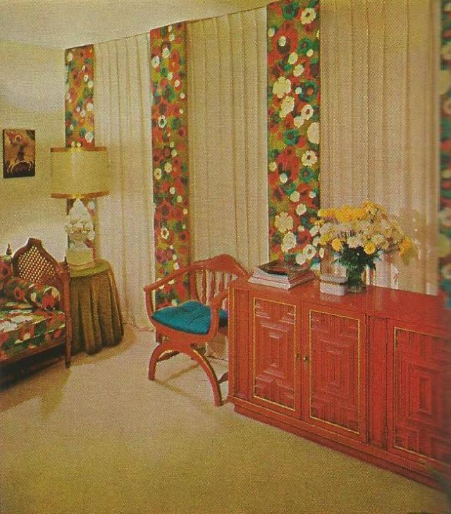 vintage home decorating, 1970s, window treatments   Mid-Century ...