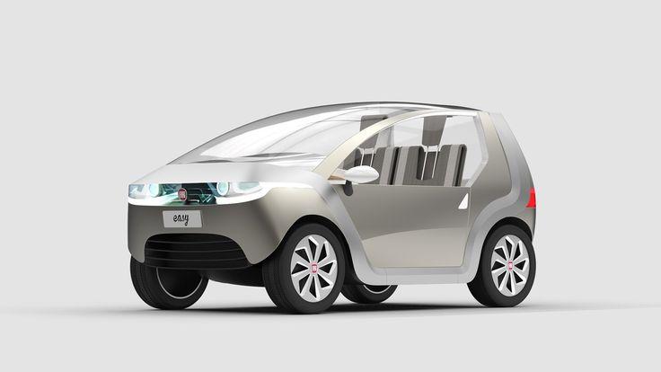 Pianale, telaio e carrozzeria modulari, interni ispirati al design navale e un cruscotto interattivo - FIAT easy è una concept car minima ed ecologica. #FIAT #easy #FIATeasy #concept #conceptcar #cardesign