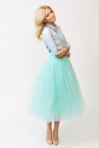 """Пышная юбка-миди из мягкой сетки цвет """"Tiffany"""""""