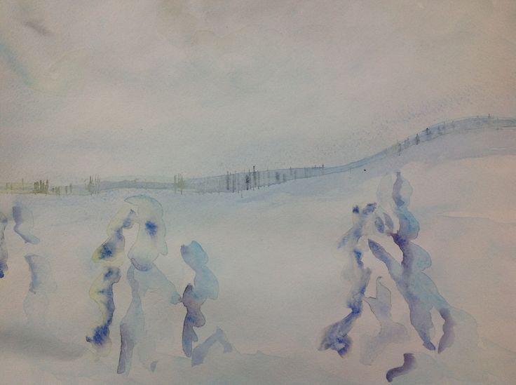 Valkoista, akvarelli, Aalto 2014