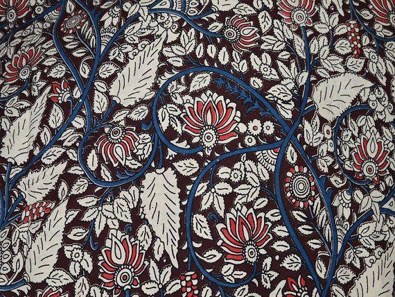 Kalamkari Indian block print KalamKari fabric, Upholstery and Dresses Cotton Fabric by the yard - Vegetable Dyed Kalamkari Pattern