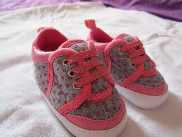 scarpine da neonato per femmina a pois grigio e rosa numero 17