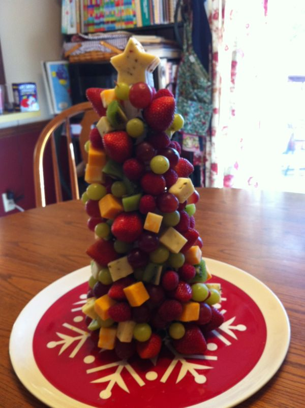 Fruit and Cheese Tree - A perfect Christmas centerpiece/appetizer where you select your favorite fruit and cheese!
