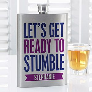 Create lasting Wedding memories with the Party It Up Personalized Funny Quote Flask. Find the best personalized wedding gifts at PersonalizationMall.com