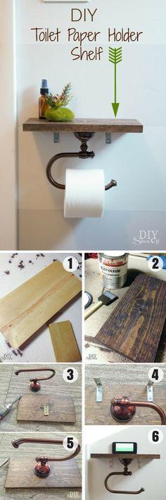 Easy to build DIY Toilet Paper Holder Shelf for rustic bathroom decor @istandarddesign