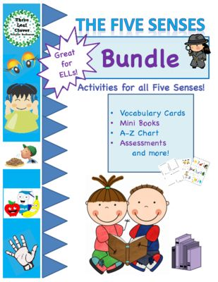 The Five Senses - Bundle - The 5 Senses Activities from ThreeLeafClover from ThreeLeafClover on TeachersNotebook.com (79 pages)  - Young learners enjoy creating their own books as they learn about things they can see, hear, smell, taste, and touch as well as interacting with their teacher during the assessment activities.