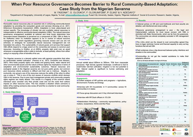 University of Lagos: Resource Governance in the Nigerian savannah | This poster describes a joint project which studied natural resource governance in the Nigerian savannah.   The study looked at policies relating to agriculture, the environment, forestry and energy.   Researchers found that national policies on natural resources, rural livelihoods and food security are detailed, well intentioned and cross cutting.  However the study found that governance arrangements are poor. It found that…