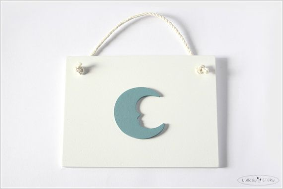Wooden hand painted picture with moon  Kids room by LullabySTORY