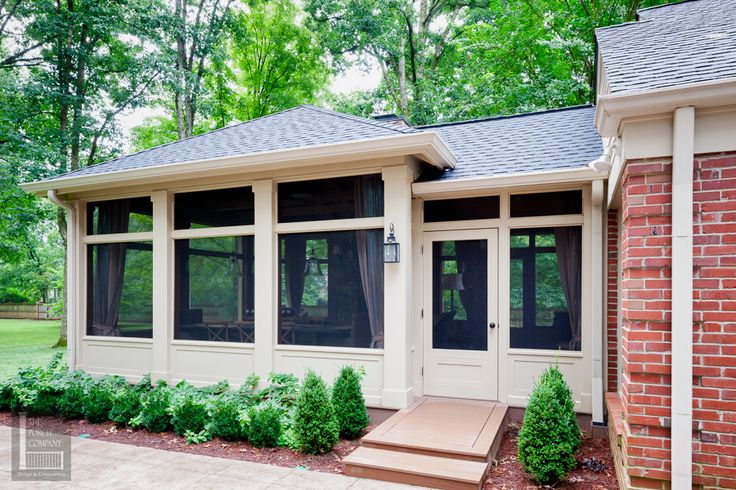 Good transition of rooflines - - Screened porch exterior with low beadboard walls