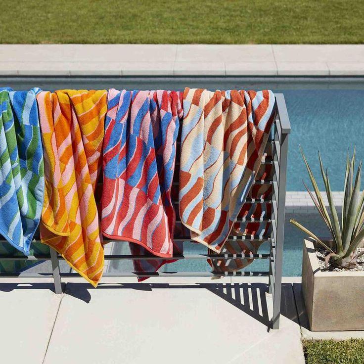 Beach Towel | Large Towels | Brooklinen Towel Rack Pool, Twist Weave, Beach Stores, Best Sheets, Large Beach Towels, Pool Accessories, Living Room Flooring, Us Beaches, Beach Pool