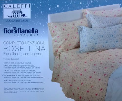 COMPLETO LENZUOLA LETTO MATRIMONIALE CALEFFI FLANELLA DI PURO COTONE