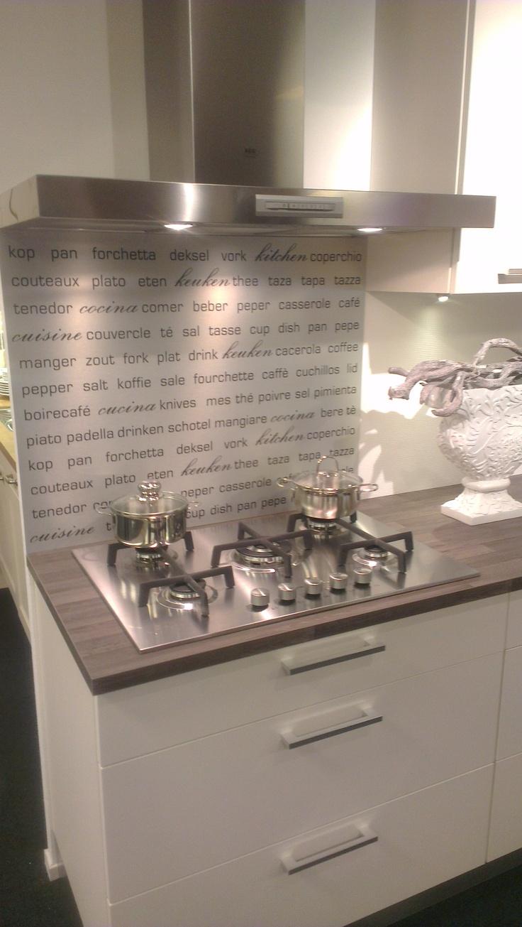 Keukenachterwand met 'keukentekst'. Type BC14 uit de Butlercollectie van Visualls.nl