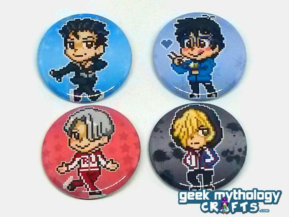 Yuri on Ice Anime Pixel Art Sprite Pins by GeekMythologyCrafts