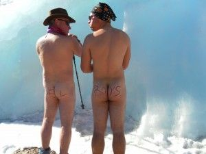 Clients going naked at the furtwangler glacier on kilimanjaro. Summit was via the western breach