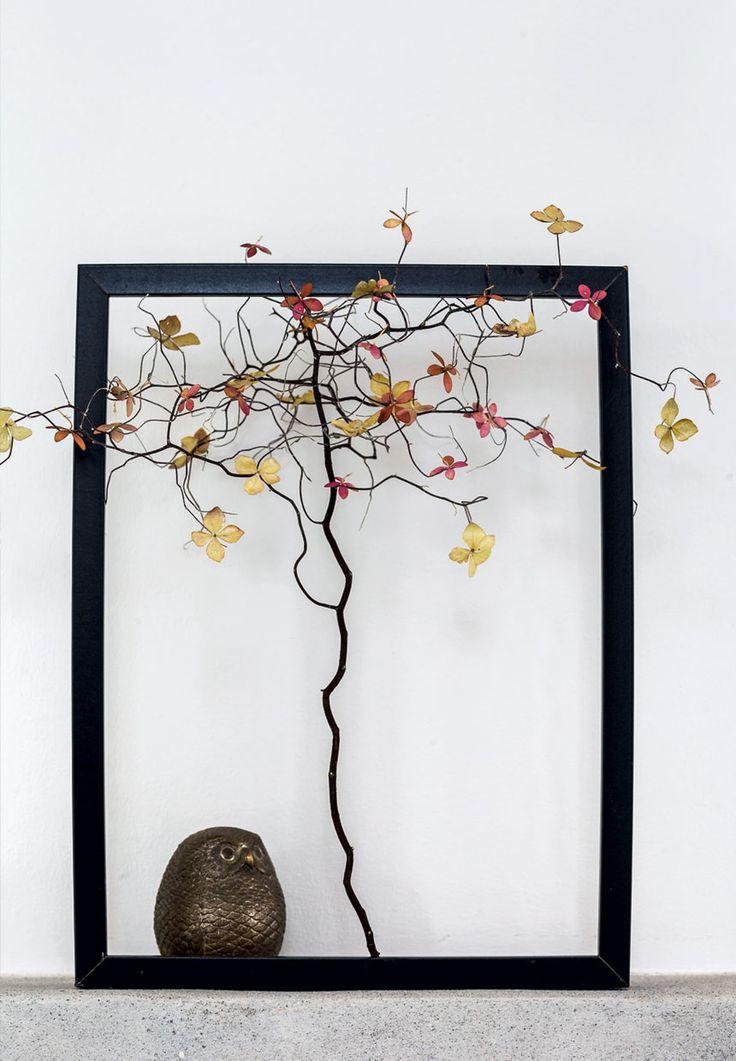 Hortensia-dekoration i ramme