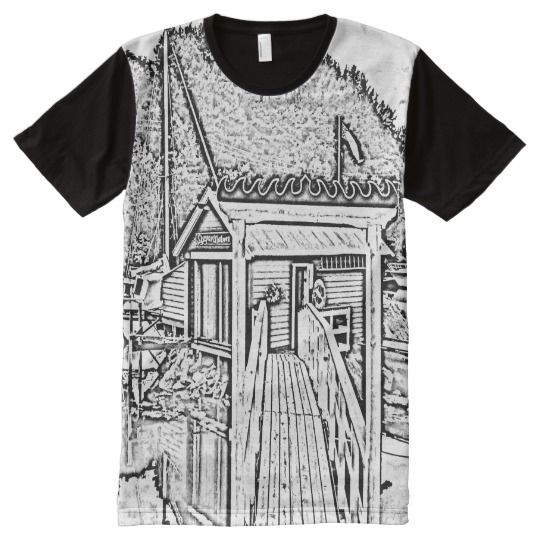 black and white small building All-Over-Print shirt A photo with black and white drawing effect of a small building near the sea. you can also see some boats.