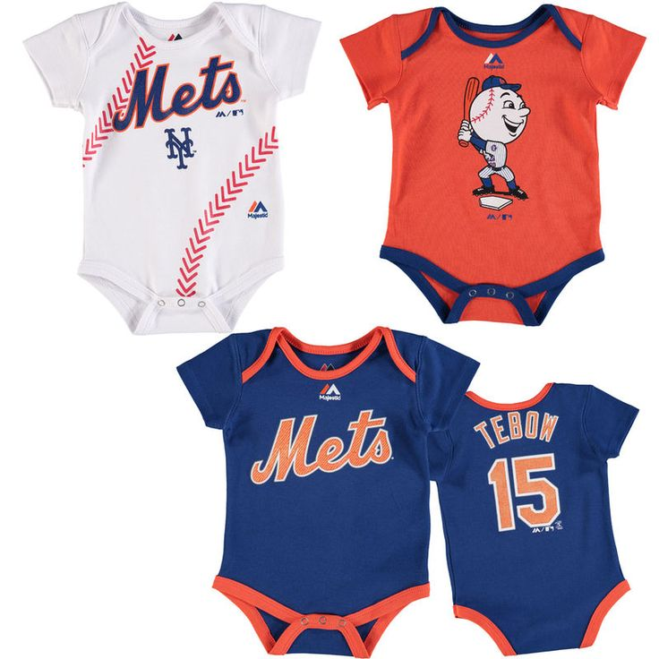 Tim Tebow New York Mets Majestic Newborn & Infant Name & Number 3-Pack Bodysuit Set - Royal/Orange/White